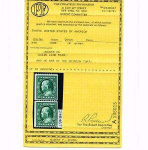 OUSTANDING GENUINE SCOTT #348 F-VF MINT OG NH PF CERT 1908 COIL LINE PAIR #10355