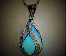 Fashion Women The Little Mermaid's Teardrop stone Glow in Dark Pendant Necklace