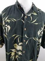 Tommy Bahama Mens XL Black Floral Button Down Hawaiian Shirt Silk