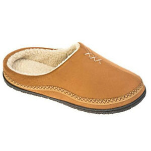 Coolers Mens Microsuede Soft House Shoe Tan Navy Fur Lined Backless Slippers