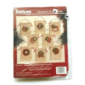 Janlynn Counted Cross Stitch Kit~~Gingerbread Ornaments~~Set of 8~~18-Count