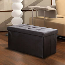 Faux Leather Storage Bench Ottoman Chest Large Folding Box Foot Rest Footstool