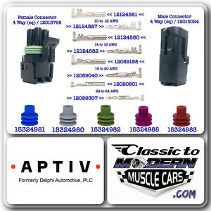 APTIV Delphi Weather Pack 4 Way Sq 10 Sets - Combo of Connector /Terminal /Seal