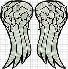 "Angel wings LARGE embroidered back patch. dead 40cm 16"" FULL embroidery! walking"