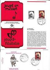 1 x feuillet prévente jeunesse musicale  1976  +  FDC P.491 + feuillet souvenir