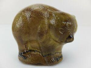 Vintage Amber Green Glass BEAR Paperweight Figurine