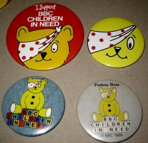 PUDSEY BEAR BBC TV vintage 1980-90s LOTX4 mixed children in need pin BADGES
