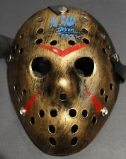 BLACK/GOLD FRIDAY THE 13TH JASON VOORHEES MASK - SIGNED BY KANE HODDER W/COA