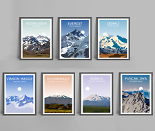 Seven Summits Set Of 7 Art Prints - Everest,Aconcagua,Denali,Kilimanjaro,Elbrus