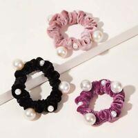 Women Velvet Pearl Elastic Hair Rope Scrunchies Solid Color Hair Accessories.