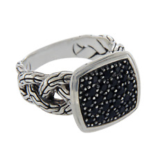 Auth JOHN HARDY 925 Sterling Silver Black Sapphire Classic Chain Ring »U312