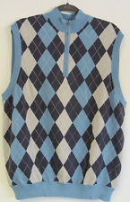 Greg Norman Lined Wind Block Argyle Golf Sweater Vest Size Large Blue NWOT