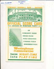 1940 Cleveland Indians Chicago White Sox scorecard