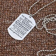 New TO MY SON Military Army Style Dog Tag Stainless Steel Pendant Men's Necklace