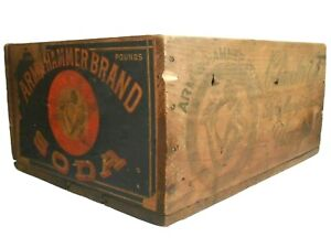 ARM & HAMMER BRAND SODA WOOD BOX ADVRTSNG CRATE, W/PAPER LABEL & INK STMPD SIDES
