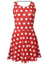 Vintage Minnie Polka Dots Print Sleeveless Skater Dress Fancy Dress Halloween