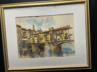 Watercolor Ponte Vecchio Florence By Artist Yousif Obaid