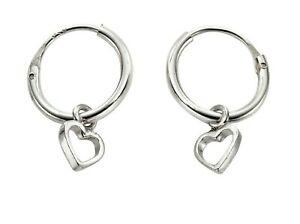 925 Sterling Silver 10mm Heart Design Hoop Sleeper Earrings (Pair)