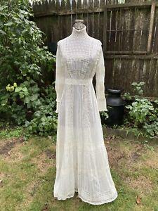 Antique Edwardian Wedding Dress White Cotton Lawn Dress Irish Lace