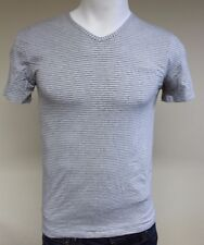 Guess Designer Men's V Neck S/Sleeved T-Shirt Grey Stripe Medium UU4F21