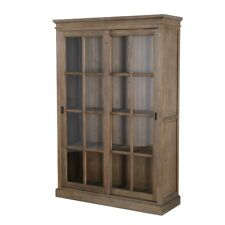 "78"" Tall Bookcase Cabinet Solid Elm Wood Natural Finish Sliding Glass Doors"