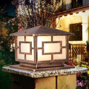 Black/Brass Metal Lantern Acrylic Outdoor Garden Pillar Light Gatepost Lamp IP54