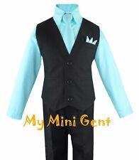 My Mini Gent Boys 4PC Solid Black Vest Suit Set Many Colors Vest Pants Shirt Tie