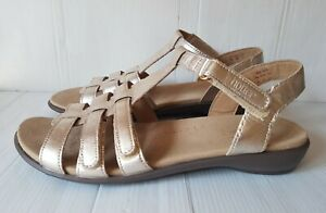 """Ladies Size 9 EU 43 HOTTER """"SOL"""" COMFORT CONCEPT Gold Leather Low Wedge Sandals"""