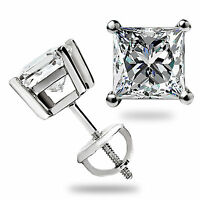 3.1 Ct Solitaire Princess Cut Stud Earrings Solid 14K White Gold Screw back Gift