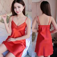 1Pc Women Satin Lingerie Nightdress Lace Robe Dress Babydoll Nightgown Sleepwear