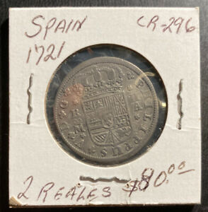 1721 Spain CR 296 Two 2 Reales Coin