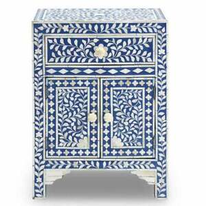 Bone Inlay Bedside Table Home Decor Purpose Attractive Design Beautifully Crafte