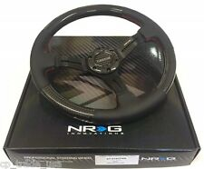 NRG 350mm Deep Dish Steering Wheel Black Leather Carbon Fiber Red Stitching