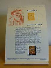 Premier jour * Fiche Musée postal * Bissière Jaune et gris