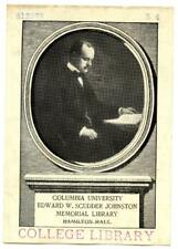 Engraved Bookplate Columbia University Edward W Scudder Johnson Memorial Library