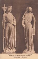 Carte postale-Strasbourg/Strassburg-statue il Münster