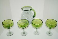 New listing Crate & Barrel Lot of 4 Green Tango Margarita Glasses With Pitcher Hand Blown