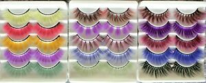 5pr Multi-Colored Long Full Volume False Eyelashes Fake Extension Colourful Bulk