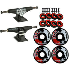 Skateboard Kit Independent 159 Trucks Forged Titanium Black Wheels Abec 5