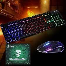 Multi-Couleur T6 Rétroéclairage USB filaire Gaming Clavier et souris Kit pour PC