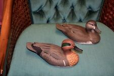 Marv Meyer - Minnesota Wisconsin - Pair Greenwing Teal Hand Carved Duck Decoys