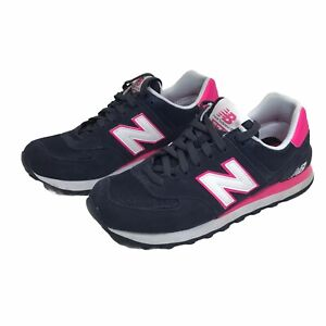 Women's New Balance 574 Navy Blue Suede & Hot Pink Shoes (WL574CPN) Size 7.5 EUC