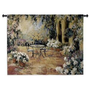 Floral Courtyard North American Made Woven Tapestry Wall Hanging
