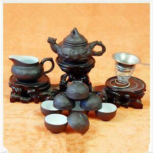 Chinese zisha purple clay tea set stoneware tea pot tea cup gaiwan dragon design