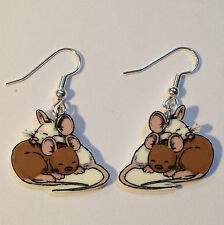 Mouse Earrings Brown White Mice Rats Charms