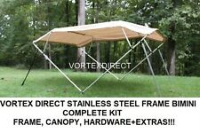 "NEW BEIGE/TAN VORTEX STAINLESS STEEL FRAME BIMINI TOP 10 FT LONG, 97-103"" WIDE"