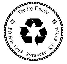 Recycle Custom Round Return Address Self Inking Rubber Stamp Recycling Logo