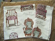 """2 GIANNA ROSE Cotton Napkins, Antique Arm Chairs, 20"""" sq, wrinkled"""