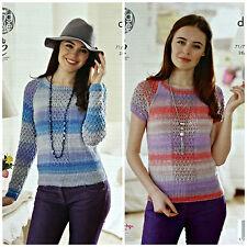 Knitting Pattern Donna Long & manica corta scollo tondo pizzo maglione Sprite DK 4567