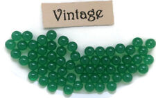#1641A Vintage Glass Balls 3mm Eyes Emerald Round No Hole Marbles Solid NOS